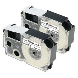 2PK  Compatible for Casio XR-18WE Black on White  Label Make