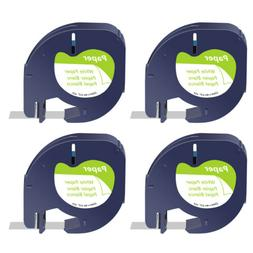 4 PK for DYMO Letratag Refills Label Tape 91330 12mm Black o