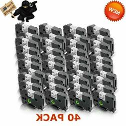 40 Label Maker Tape 12mm 0.47 White Compatible with Brother