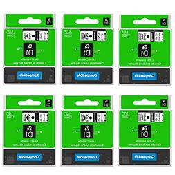 6-Pack 45013 S0720530 D1 Label Tape Compatible DYMO LabelMan