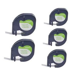 5Pack Paper Label Tape for DYMO Letra Tag LT 91330 Black on