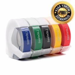 5PK Label Tapes Replacement Dymo 3D Plastic Embossing Tape f