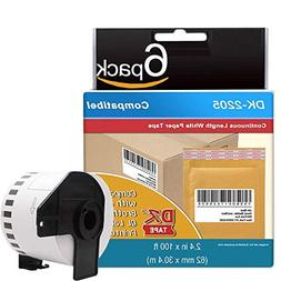 6 Rolls Compatible Brother DK-2205 Continuous Length Paper T