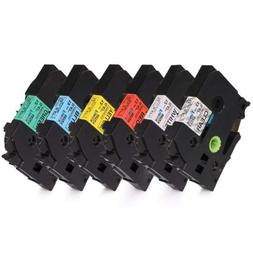 6PK Compatible Brother P-touch Label maker tape 12mm Colorfu