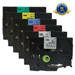6PK P-touch Label Tapes Compatible for Brother TZe121-TZe721