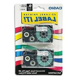 Casio 9mm Labelling Tape, Black on Clear, Double Pack XR-9X2