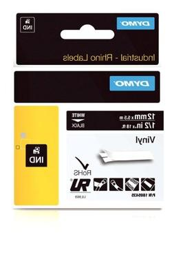 DYMO Industrial Rhino Black Vinyl Tape,White on Black,12mm,
