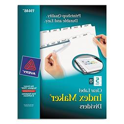 Avery 11446 Index Maker, Laser, Punched, 5-Tabs, 25 ST/BX, 8