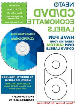 Neato CD/DVD Economatte Labels – 50 Sheets – Makes 100 L