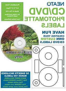 Neato CD/DVD Labels, Photomatte - Photo Quality Finish - 100