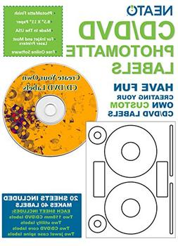Neato CD/DVD PhotoMatte Labels – 20 Sheets – Makes 40 Di