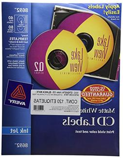 Avery CD Labels, Matte White, 40 Disc Labels and 80 Spine La