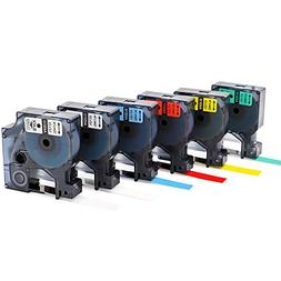 6-Pack D1 Label Tapes Combo Set Replacement DYMO 45010 45013