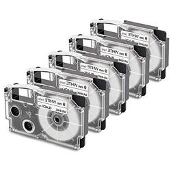 5-Pack Compatible Casio XR-9WE2S XR-9WE 9mm Black on White L