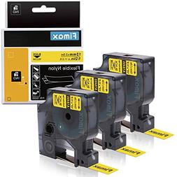 Compatible DYMO Industrial Labels Black on Yellow 18490, Fle