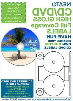 Full Coverage High Gloss Photo Quality CD/DVD Labels - 40 Pa