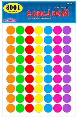 Pack of 1008 1-inch Diameter Round Color Coding Dot Labels,