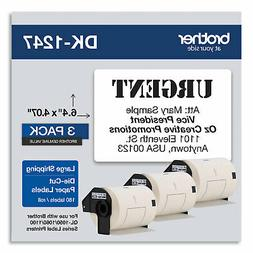 Brother Die-Cut Shipping Labels, 4.07 x 6.4, White, 180/Roll