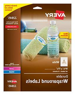 Avery Durable Waterproof Wraparound Water Bottle Labels, 1-1