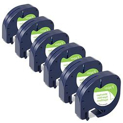 6-Pack Equivalent Dymo Letratag Refills 91330 S0721510 1/2''