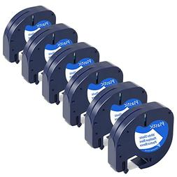 6-Pack Equivalent Dymo Letratag Tape 91331 S0721610 1/2'' W