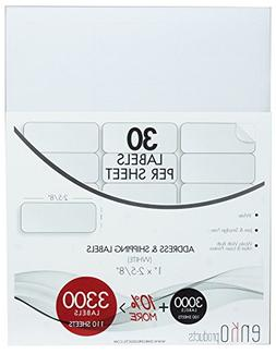 "enKo 3300 Labels, 1 x 2-5/8"" Inches - White - Address Mailin"