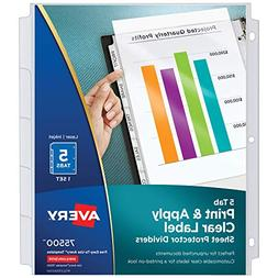 Avery 5-Tab Sheet Protector Dividers, Easy Print & Apply Cle