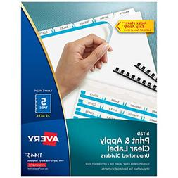 Avery 5-Tab Unpunched Binder Dividers, Easy Print & Apply Cl