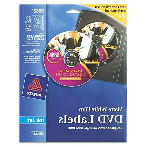Avery DVD Labels Matte White For Ink Jet