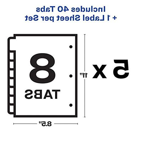 Avery 8-Tab Easy Labels for Index White Sets