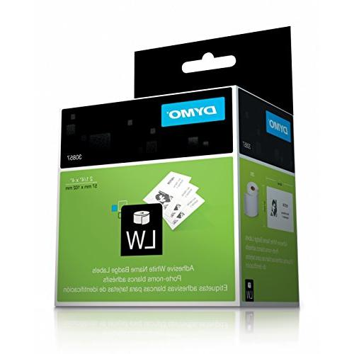 "DYMO LW Name Badge Label Rolls, 1/4"" x 4"", Use and Desktop Mailing Printers, on White, 250 per Pack of Roll"
