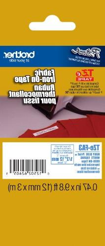 BROTHER TZ Industrial Series Fabric Iron-On Tape, 1/2 x 9.8f