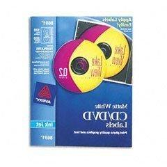 50 Sheets Avery White Cd/Dvd Labels For Inkjet Printers 2-Up