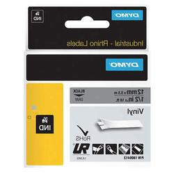 "DYMO Label Tape Cartridge,Vinyl,18 ft.L,1/2""W, 1805413, Blac"