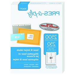 Pres-a-ply Laser Label, 2 x 4 Inches, White, Box of 2500