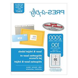 Pres-a-ply Laser Labels, 1 x 4 Inch, White, 2000 Count