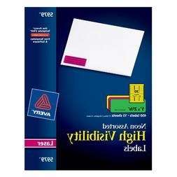 Avery Neon Laser Labels, Rectangle, Assorted Fluorescent Col