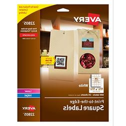 Avery Permanent Square Label, White, Inkjet/Laser 1.5 x 1.5-