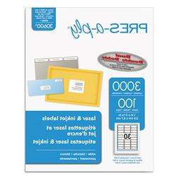Pres-A-Ply Laser Address Labels, 1 x 2-5/8, White, 3000/Box,