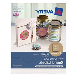 """Avery Print-to-the-Edge Round Labels, Kraft Brown, 2-1/2"""" Di"""