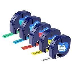 5-Pack Replace DYMO Letratag Refills 1/2 inch Labeling Tape