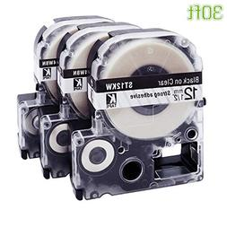 Replace Epson Label Maker Tape Black On White/Clear, LC-4WBN