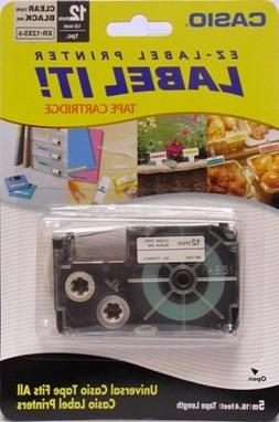 Brand New Casio Universal Label Tape- 12mm Black Ink on Clea