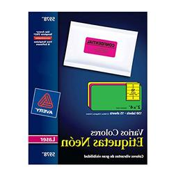 Avery High Visibility 2 x 4 Inch Labels, Assorted Fluorescen
