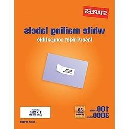 Staples White Mailing Labels for Laser Printers, 1 x 2.62 In