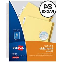 Avery 5-Tab Binder Dividers, Insertable Clear Big Tabs, 24 S